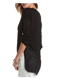 High-Low Knit Pocket Top