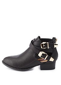 Dollhouse Perforated Cut-Out Ankle Boots