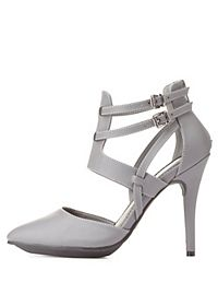 Strappy Pointed Toe D'Orsay Heels