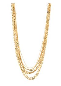Mixed Chain & Rhinestone Layered Necklace