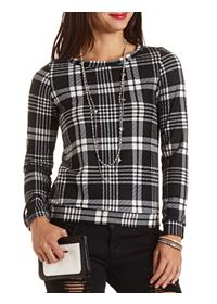 Textured Plaid Sweatshirt