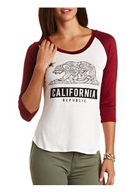 California Flag Graphic Baseball Tee
