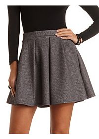 Quilted & Pleated Skater Skirt