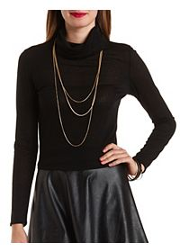 Ribbed Long Sleeve Turtlneck Top