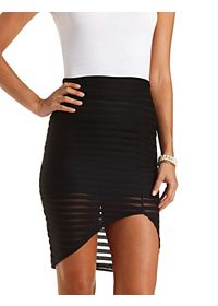 Mesh-Striped Asymmetrical Skirt