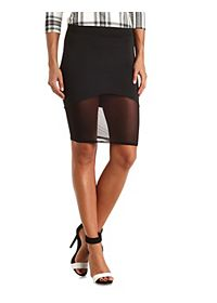 Mesh Hem Bodycon Pencil Skirt