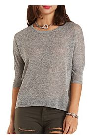 Marled High-Low Dolman Top