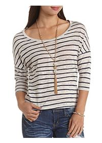 Zipper-Back Striped High-Low Top