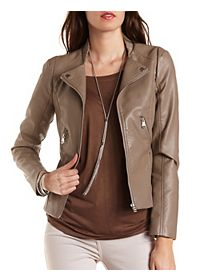 Perforated Faux Leather Moto Jacketk