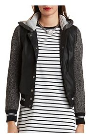 Layered Faux Leather Varsity Jacket