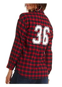 Numbered Plaid Flannel Shirt