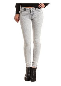"Refuge ""Skin Tight Legging"" Grey Acid Wash Jeans"