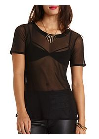 Short Sleeve Sheer Mesh Tee