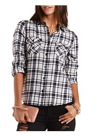 Plaid Flannel Button-Up Top