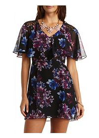 Floral Print Chiffon Flounce Dress