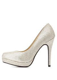 Metallic Glitter Platform Pumps