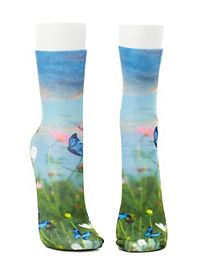 Butterfly Photo Print Crew Socks