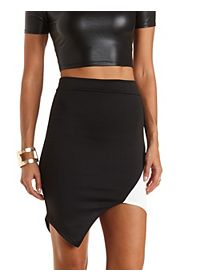 Color Block Asymmetrical Skirt