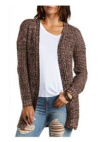 Marled Open Front Cardigan Sweater