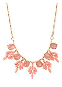 Faceted Stone Snowflake Bib Necklace