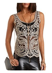 Gold-Embroidered Mesh Tank Top
