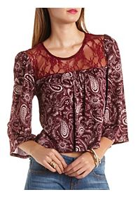 Lace Yoke Paisley Print Peasant Top