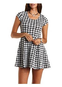 Short Sleeve Houndstooth Skater Dress