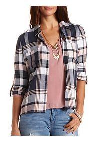High-Low Button-Up Plaid Top