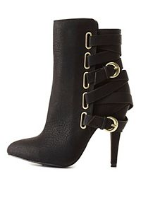Belt-Wrapped Pointed Toe Booties