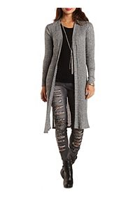 Ribbed Side Slit Duster Cardigan