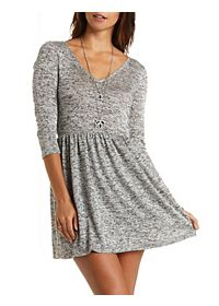 Marled Sweater Knit Babydoll Dress