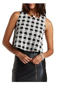 Plaid Crop Top with Zipper