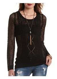Cable Front Open Knit Tunic Sweater