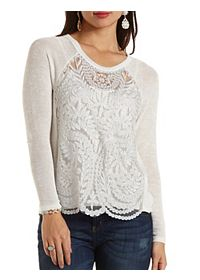 Embroidered Mesh & Sweater Knit Top