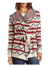 Belted Chevron-Striped Cardigan Sweater