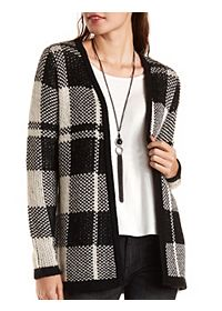 Plaid Open Front Cardigan Sweater
