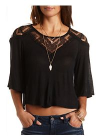 Lace Yoke Swing Crop Top