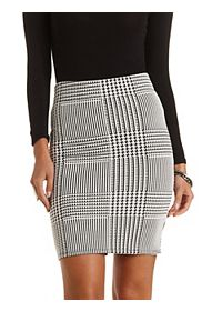 Houndstooth Bodycon Pencil Skirt