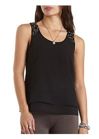 Embellished Crepe and Chiffon Tank