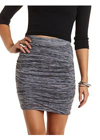 Marled & Ruched Tulip Mini Skirt