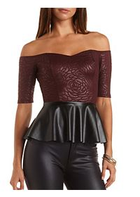 Off-the-Shoulder Faux Leather Peplum Top