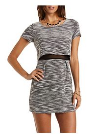 Mesh-Lined Tweed Illusion Dress