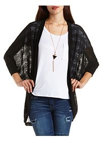 Slub-Striped Cocoon Duster Cardigan