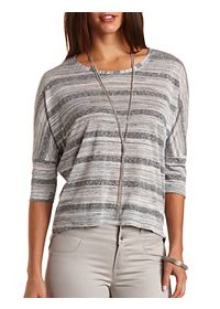 Marled Stripe High-Low Dolman Top