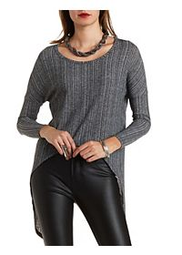 High-Low Ribbed Pullover