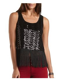 Sequin and Fringe Tank Top