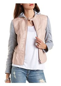 Layered & Hooded Faux Leather Bomber Jacket