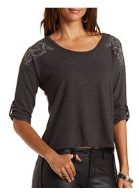 Split-Back Rhinestone Fleece Top