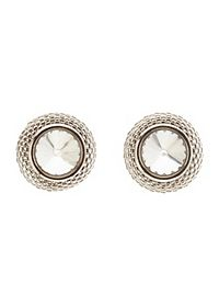 Chain-Trimmed Rhinestone Stud Earrings