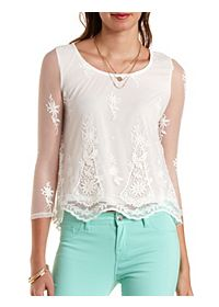Embroidered Mesh Swing Top